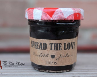"""SPREAD THE LOVE Jam, Jelly, Marmalade, Preserves, Sauce, or Spread Customizable Adhesive Back Labels - 2"""" x .75"""""""