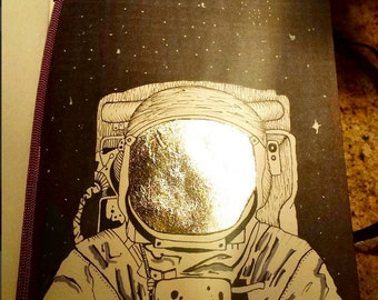 Original Astronaut drawing with Gold leaf