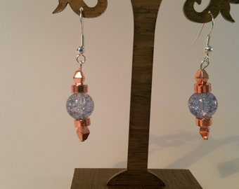Beautiful rose gold and blue glass drop earrings