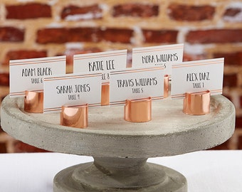Copper Pipe Place Card Holder Set of 6 Placecards Photo Holders Table Card Stands Wedding Centerpiece Industrial Bridal Shower Events Decor
