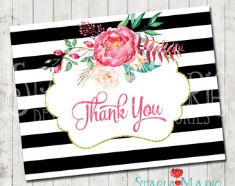 Flower Black and White Stripe Thank You Card