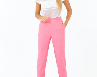 Pink Linen Trousers,Casual Pants Skinny ,Short Pants with Pockets