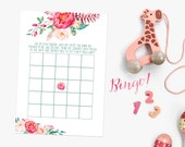 Watercolour Floral Baby Shower DIY Baby Bingo Game - Printable - Digital File - Instant Download - White Design