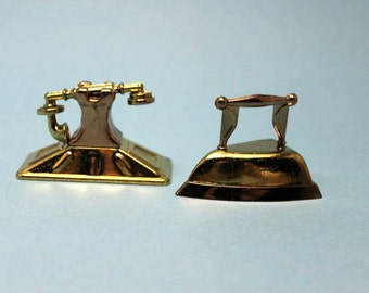 Miniature Gold Telephone and Flat Iron
