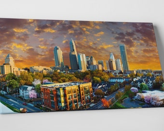 """Charlotte NC Downtown Panoramic Skyline Gallery Wrapped Canvas Print 30""""x16"""""""