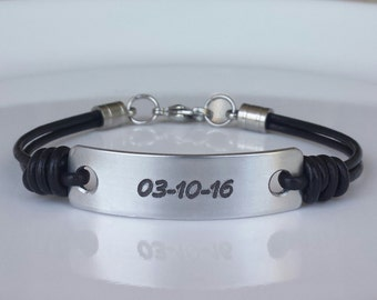 FREE SHIPPING-Mens Personalized Bracelet, Mens Custom  Bracelet, Simple Leather Bracelet, Leather Bracelet for Anniversary, Gift for Men
