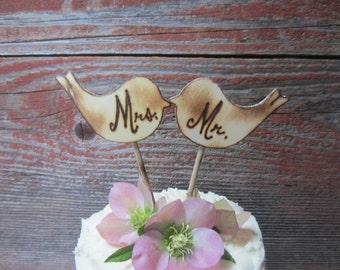 Love birds cake topper, Rustic cake topper, wedding cake topper, woodland wedding, Bird Cake topper, Bird wedding decor, cupcake topper