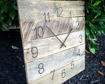 "Large Reclaimed Wood Clock - ""Standard Time"" (18"" x 18"") - Pallet Wood - Repurposed"