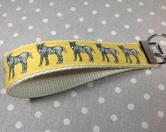 Mustard yellow zebra key fob African savannah wildlife animal key chain black and white stripes small gift idea under 10 for animal lover