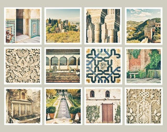 Alhambra Spain Prints, Gallery Wall Print Set, Travel Photography, Office Decor, Gift for Traveler, Set of 12, 5x5 print, Square Print