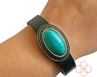 Fitness Tracker Charm to Accessorize Fitbit or Other Trackers - GENUINE TURQUOISE Silver Charm to Dress Up Your Fitness Tracker