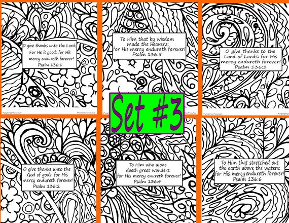 Bible Verse Coloring Pages Doodle Set 3 BibleVerse
