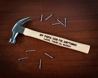Engraved Hammer Grandpa, Personalized Hammer for Papa Gifts, Grandad Gifts from Grandkids, My Papa Can Fix Anything