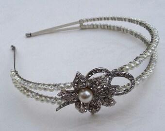 1920s bride headband, Art Deco headband, Gatsby style, pearl headdress, crystal headdress, bridal headpiece, 1920s bridal hair, pearl hair