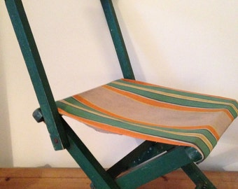 Child's striped chair converting fishing camping stool green