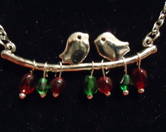Christmas Love Birds on a Branch Necklace