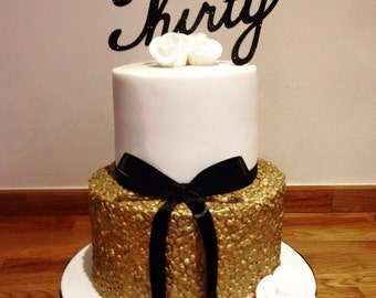 Sixty 60th gold glitter birthday script large cake toppers