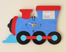 Wooden Train Wall Clock, Non-ticking, Red and Blue birch wood, Boys wall clock, Boys room, Train theme, other colours available, 25x16.5cms