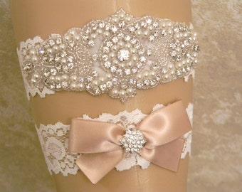 Wedding Garter Set, Champagne Bridal Garter Set, Pearl and Rhinestone Garter and Toss Garter Belt Set, Lace Wedding Garter Set, Lace Garters