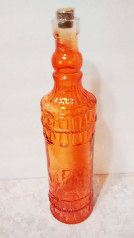Orange 12 inch tall decorative colored glass by for Colored glass bottles with corks