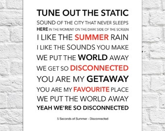 5 Seconds of Summer (5SOS) - Disconnected - Lyrical Song Art Poster