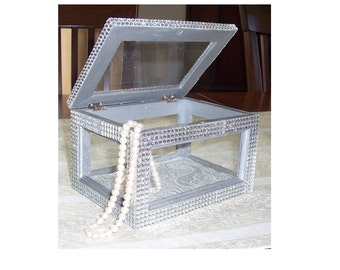 Glass and Wood Box with Bling! Jewelry Box, Keepsake Box