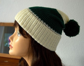 Handmade Hand Knitted Cream and Green Winter Beanie Bobble Hat