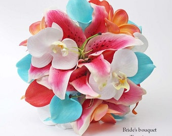 Pink, aqua, coral, white, bouquet, Real Touch flowers, calla lily, lilies, orchids, plumeria, Bride, Groom, silk, wedding, set, beach
