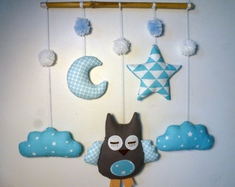 Blue and white OWL mobile