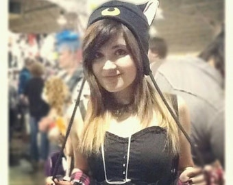 Sailor Moon - LUNA Cat - Luna Hat - Cat Ears - Cat Hat - Cat Fleece Hat - Aviator Cat Ear Hat - Cat Earflap Hat - Luna Cosplay - Anime Hat