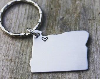 Portland Oregon Heart Stamped Key Chain - Aluminum Hand Stamped Portland Key Chain
