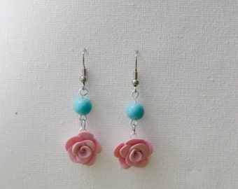 """""""Rose"""" color earring pink"""