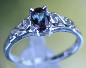 925 Sterling Silver Imitation ALEXANDRITE Youth June Birthstone Ring USA 5