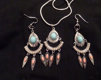 Native American Necklaces and Earring Set, Wire Wrapped Jewelry,
