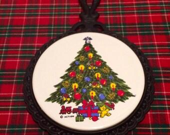 Cast Iron Christmas Trivet Holiday Trivet Pot Holder Christmas Tree