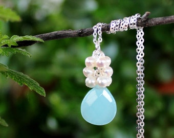 Aqua Chalcedony Pendant Necklace.White Freshwater Pearls.Sterling Silver Chain.Cluster Necklace.Bridal.Blue.Beach.Layering.Gift.Handmade.