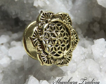 Flower of Life Ear Plugs, Brass Ear Plugs, Gauge Jewelry, Tribal Brass Ear Tunnels, Ear Plugs, Sacred Geometry Ear Tunnels