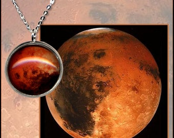 Mars Pendant on sterling silver chain