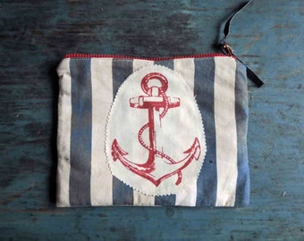 Nautical Anchor Zipped Pouch Fabric Clutch Red White Blue Muted Small