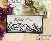 Spider web place cards laser cut name cards halloween gothic table setting custom spooky