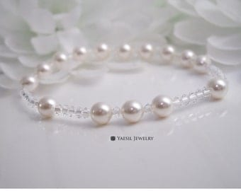 Bride Rosary: Crystal and White Pearl Rosary Bracelet