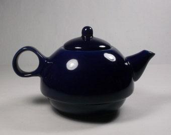 Small Cobalt Blue Pottery Teapot