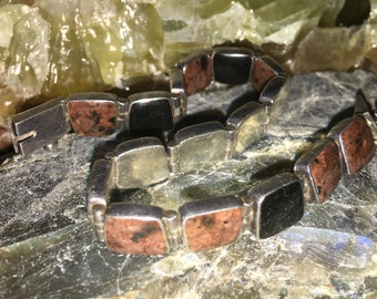 Sterling silver .950 ebony and petrified wood bracelet modernism design