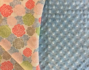 Rose Blanket in Blue Pink Green Watermelon Gray and White Monogram Option