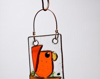 Happy Orange Bird Handmade Fused Glass Suncatcher Ornament