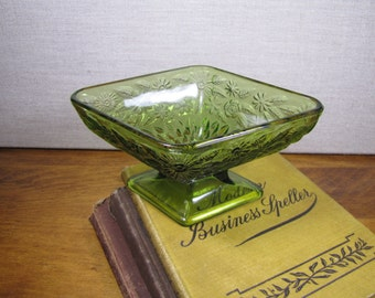Diamond Shaped Pressed Green Glass Dish - Flower and Diamond Pattern