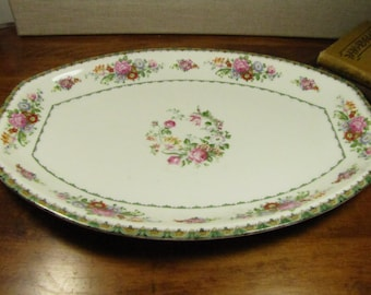 Vintage Union K Floral Platter - Made in Czechoslovakia