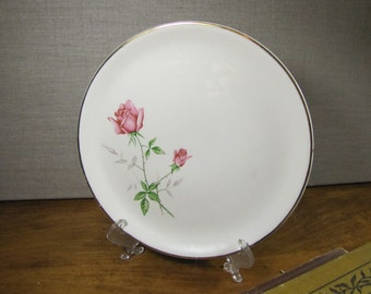 Vintage Dessert Plate - Unmarked _ Pink Rose and Rosebud on Green Stems - Gray Leaves - Gold Accent