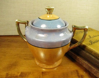 Blue and Gold Lusterware Covered Sugar Dish - Made in Japan