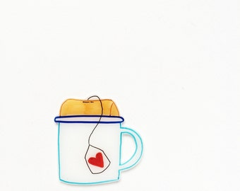 Cuppa Lover piece of flair. Enamel mug pin with a tea bag, showing love for all types of brews. #muglife